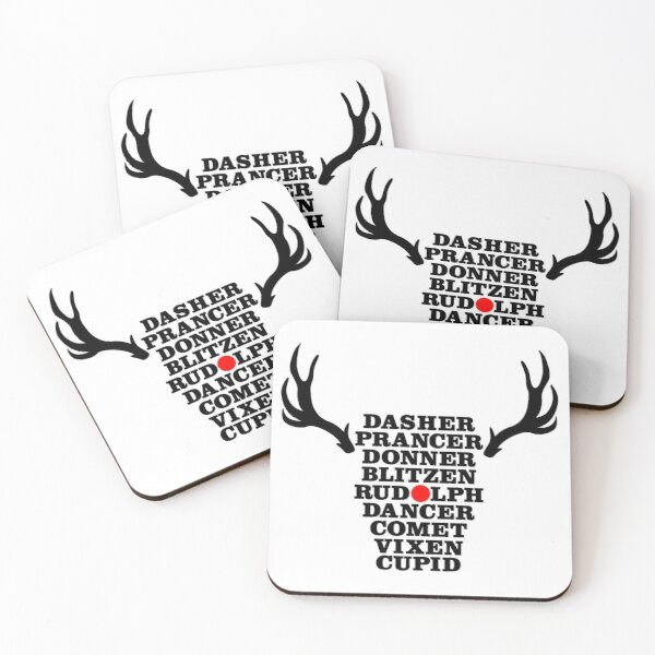 Reindeer Names Text Red Nose   Christmas Xmas Cheer Design Coasters (Set of 4)
