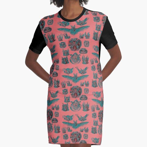 Fine Art Peach and Aqua Bats Graphic T-Shirt Dress
