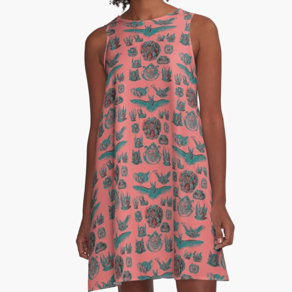 Fine Art Peach and Aqua Bats A-Line Dress
