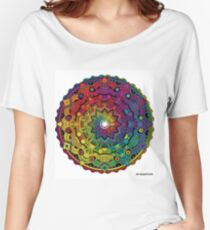 """Mandala 59 """"Time Dilation"""" Rainbow Multicoloured Women's Relaxed Fit T-Shirt"""