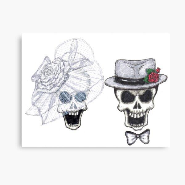 Glam Skull Bride & Groom Wedding Portrait Metal Print
