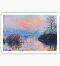 Claude Monet - Sunset On The Seine At Lavacourt Winter Effect 1880 Sticker