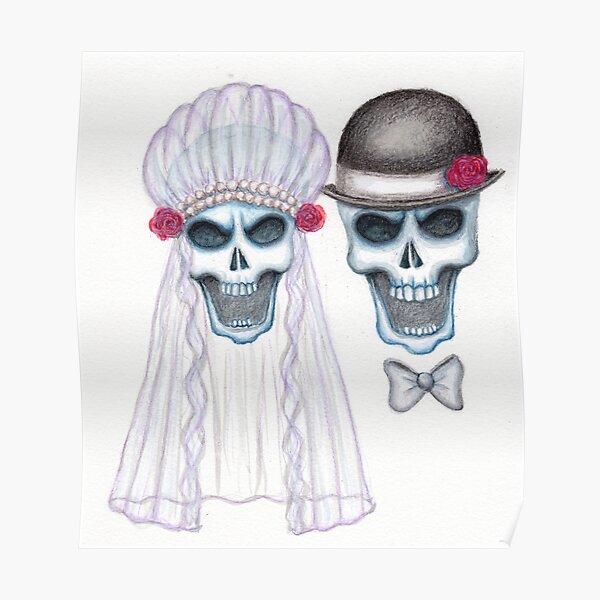 Skull Bride & Groom Color Pencil Portrait Poster