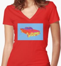 1965 Ford Mustang Convertible Pop Image Women's Fitted V-Neck T-Shirt