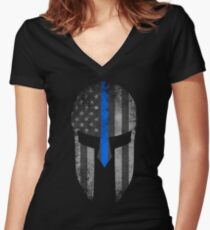 Blue Line American Flag Spartan Helm Women's Fitted V-Neck T-Shirt