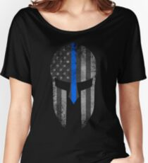 Blue Line American Flag Spartan Helm Women's Relaxed Fit T-Shirt