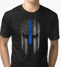 Blue Line American Flag Spartan Helm Tri-blend T-Shirt