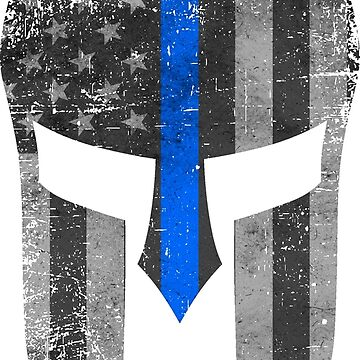 Blue Line American Flag Spartan Helm by Runesilver