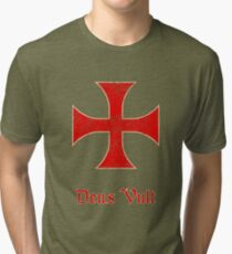 Deus Vult Crusader Templar Cross Tri-blend T-Shirt