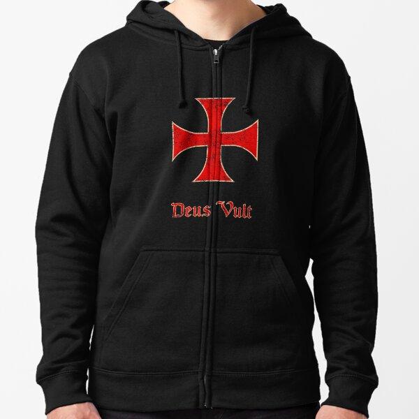 Deus Vult Crusader Templar Cross Zipped Hoodie