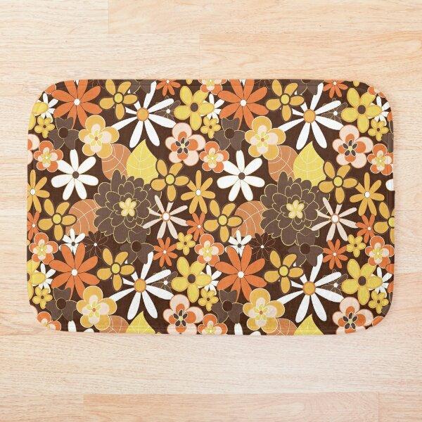 Vintage 70s Style Flower Pattern, 70s Style Flower Pattern, Flower Pattern Bath Mat