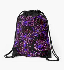 Dark floral contrast Drawstring Bag