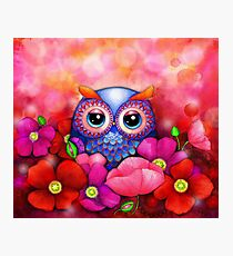Owl in Poppy Field Photographic Print