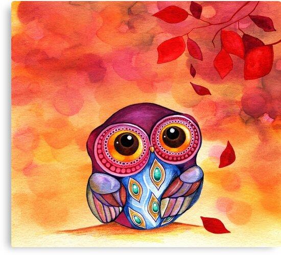 Owl's First Fall Leaf by Annya Kai