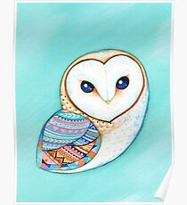 Tribal Pattern Barn Owl Poster