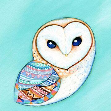 Tribal Pattern Barn Owl by ClearJadeStudio