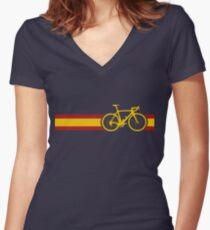 Bike Stripes Spanish National Road Race Women's Fitted V-Neck T-Shirt