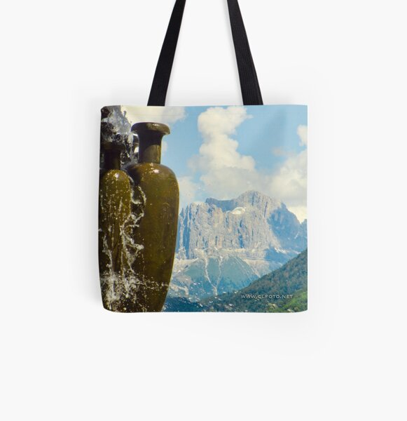 Fountain with the Dolomites beyond All Over Print Tote Bag