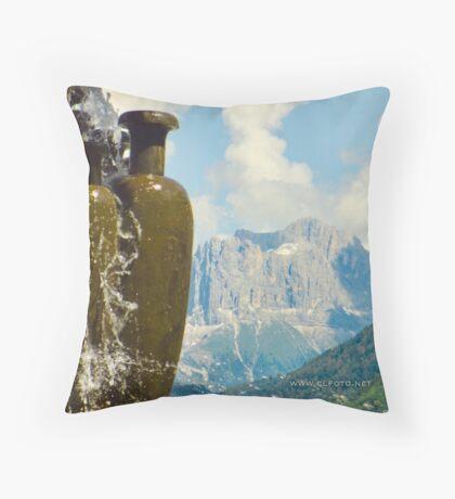 Fountain with the Dolomites beyond Throw Pillow