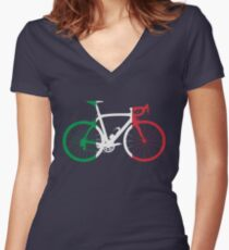 Bike Flag Italy (Big) Women's Fitted V-Neck T-Shirt