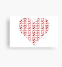 Bike Heart (Red) (Small) Canvas Print