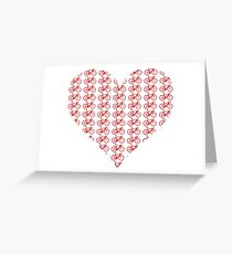 Bike Heart (Red) (Small) Greeting Card
