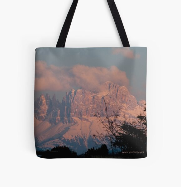 Pretty in Pink: Sunset on the Dolomites All Over Print Tote Bag