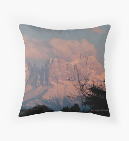 Pretty in Pink: Sunset on the Dolomites Throw Pillow