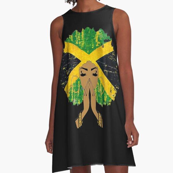 Jamaican Flag Black Woman Melanin Queen Afro A-Line Dress