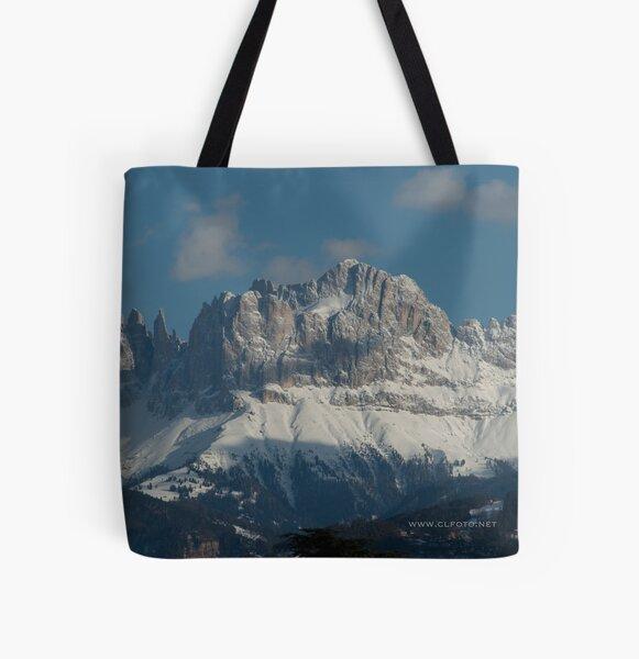 Snow on the Dolomites, Bolzano/Bozen, Italy All Over Print Tote Bag
