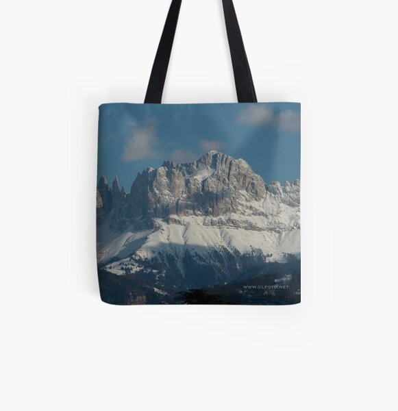 Snow on the Dolomites, Bolzano/Bozen, Italy All Over Print Tote Bag