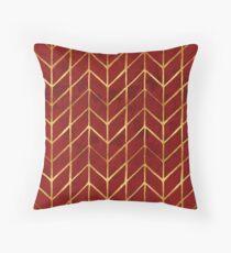 Gold Foil Herringbone on Dark Red Watercolor Pattern Throw Pillow