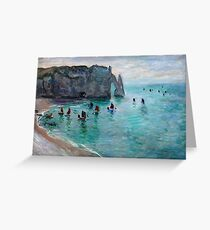 Claude Monet - Etretat The Aval Door Fishing Boats Leaving The Harbour Greeting Card
