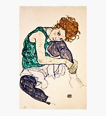 Egon Schiele - Seated Woman with Legs Drawn Up (Adele Herms) (1917)  Photographic Print