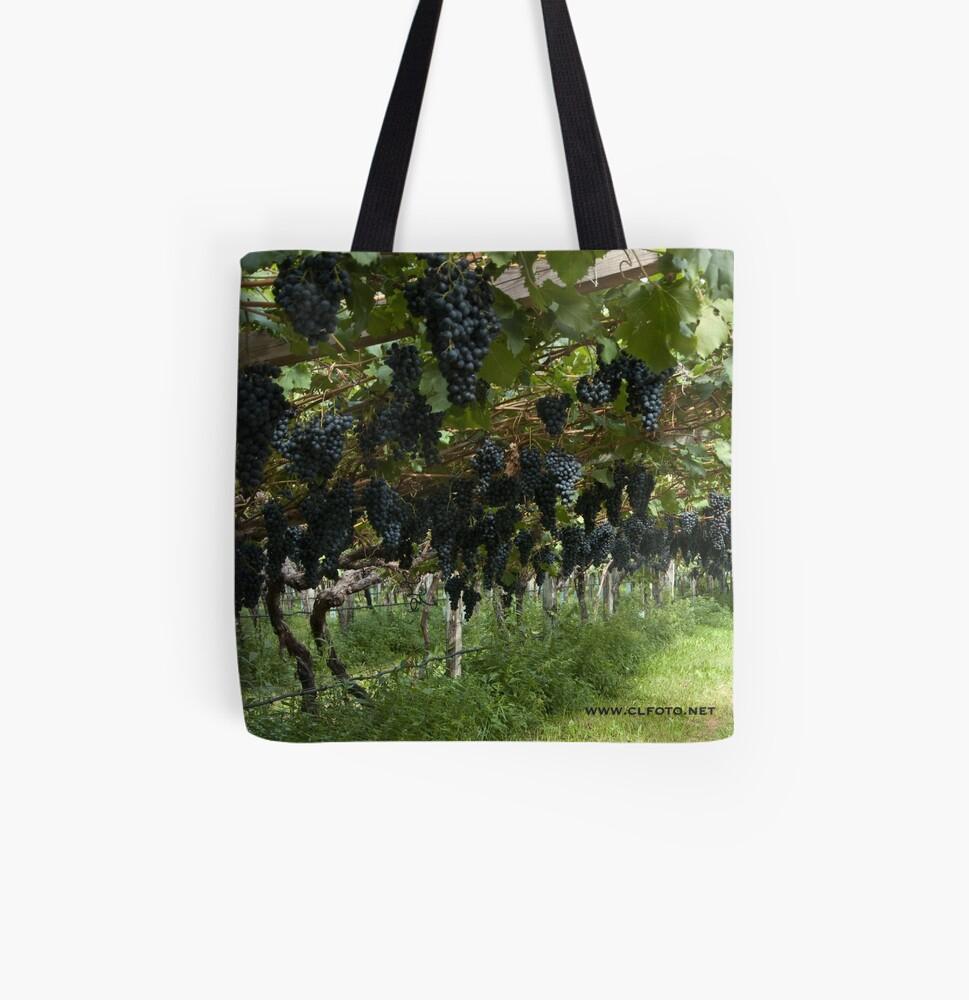Grapes in the Castle Mareccio Vineyard, Bolzano/Bozen, Italy All Over Print Tote Bag