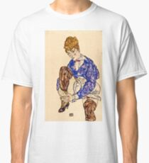 Egon Schiele - Portrait of the Artists Wife Seated, Holding Her Right Leg 1917  Classic T-Shirt