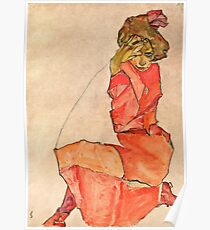 Egon Schiele - Kneeling Female in Orange Red Dress (1910)  Poster