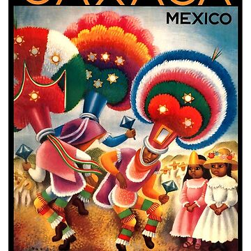 Oaxaca Mexico Costumed Native Dancers Vintage World Travel Poster  by retrographics