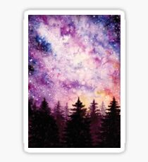 Watercolor Space And Dark Firs Sticker