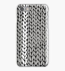 Grey Knit With White Stripe iPhone Case/Skin