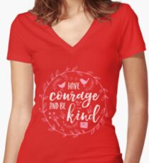Have Courage and Be Kind Typography Raspberry Pink Fitted V-Neck T-Shirt