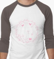 Have Courage and Be Kind Typography Raspberry Pink Men's Baseball ¾ T-Shirt