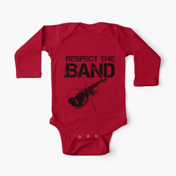 Respect The Band - Violin (Black Lettering) Long Sleeve Baby One-Piece