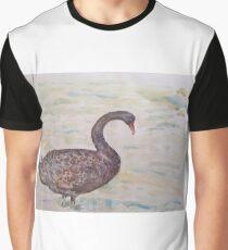 Black Swan at lake by Liz H Lovell Graphic T-Shirt