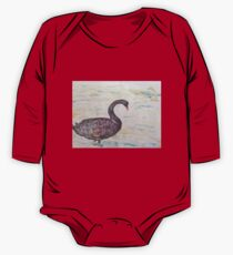 Black Swan at lake by Liz H Lovell One Piece - Long Sleeve