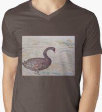 Black Swan at lake by Liz H Lovell T-Shirt