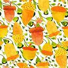 Gold Acorn And Green  Fall Leafs Seamless Pattern by artonwear