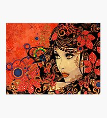 Autumn Girl with Floral Grunge 3 Photographic Print
