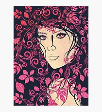 Autumn Girl with Floral Grunge 4 Photographic Print