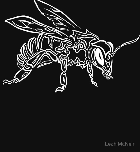 """""""Bee Spirit"""" ver.2 - Surreal abstract tribal bee totem animal by Leah McNeir"""